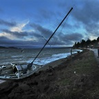 Sailboat beached by strong winds in Purdy