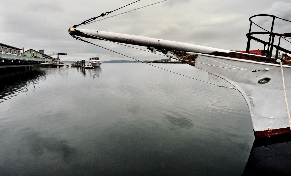 The 120-foot, steel hulled maritime relic El Primero is tied on a dock by the Foss Waterway Museum.