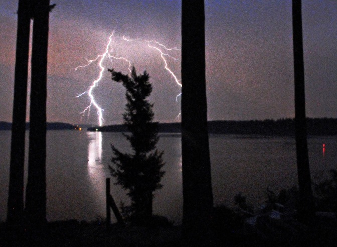We were treated to an impressive lightning show as we tried to cool off on a sweltering summer night.