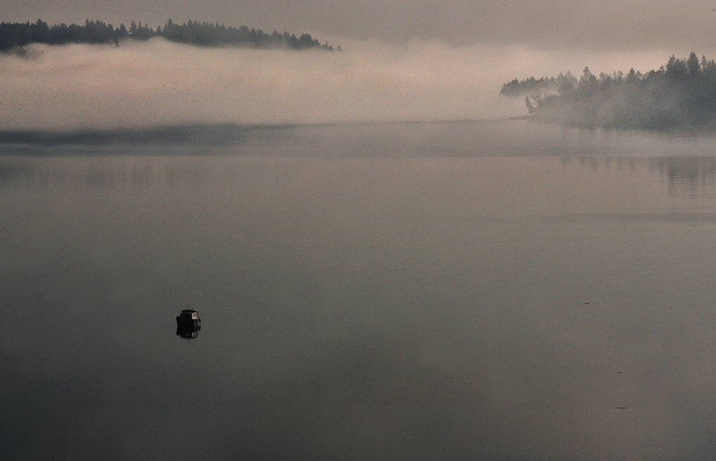The morning fog flows between McNeil and Anderson islands as a boat drifts restlessly down Drayton's Passage.