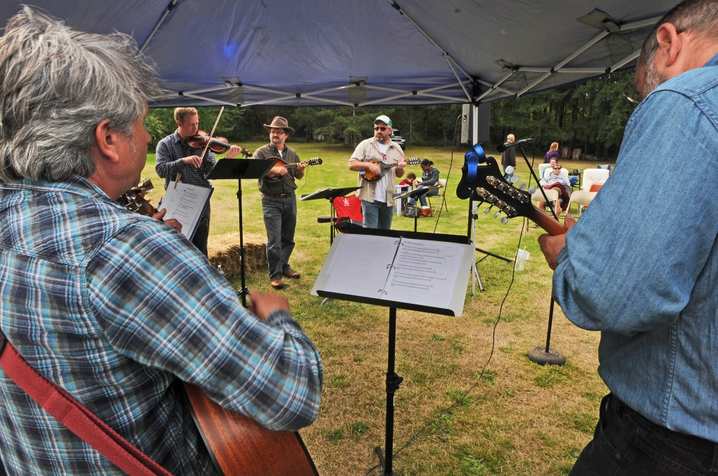 The band BLuegrass Minstrels, which is made up of Key Peninsula pastors and residents, performed in honor of the late Bill Ketts who started Grace Fellowship Church at Blue Willow Lavender Farm.