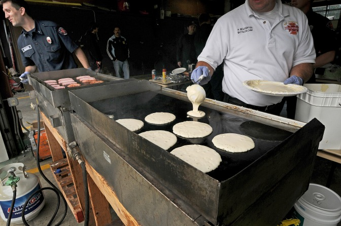 Hundreds of pancakes were served by firefighters at the Key Center fire house,