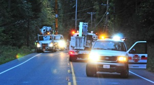 Peninsula Light Co., tweeted at 9:54 p.m. that power had been restored in Home, about four hours after they arrived on scene.