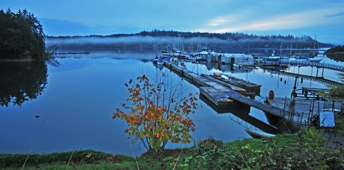 It was a blue morning at the Longbranch Marina, but expect a bit of sunshine later in the day.