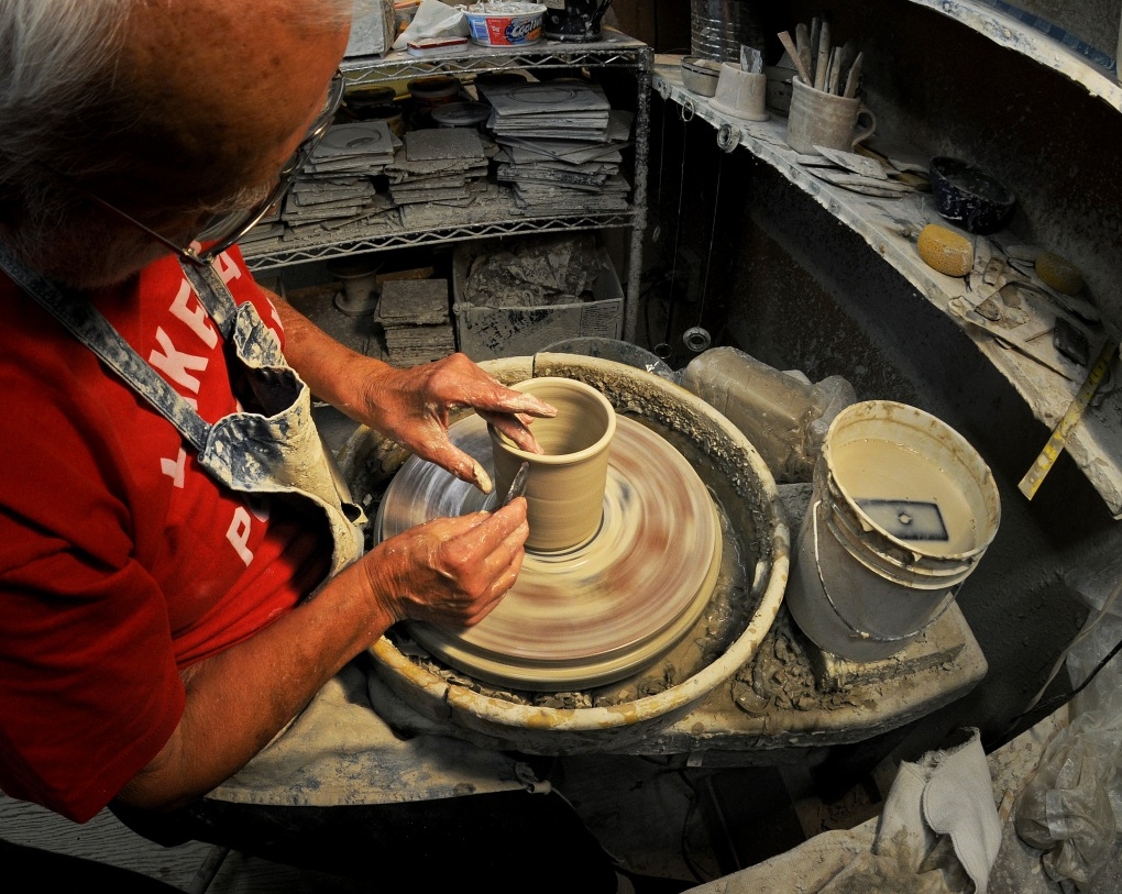 """It takes three pulls,"" Andersen said, before the clay begins to take shape."