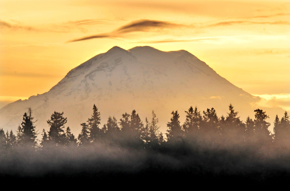 This morning's sunrise gave the sky over Mount Rainier a golden glow..