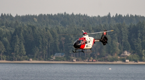 An Airlift Northwest medieval helicopter lifts off from the sandbar on Drayton's Passage July 9.