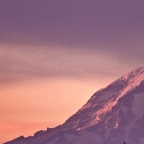 A Mount Rainier moment in all shades of red and blue