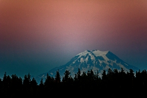 Our mountain put on a show of its own just before the moon rose over Anderson island.