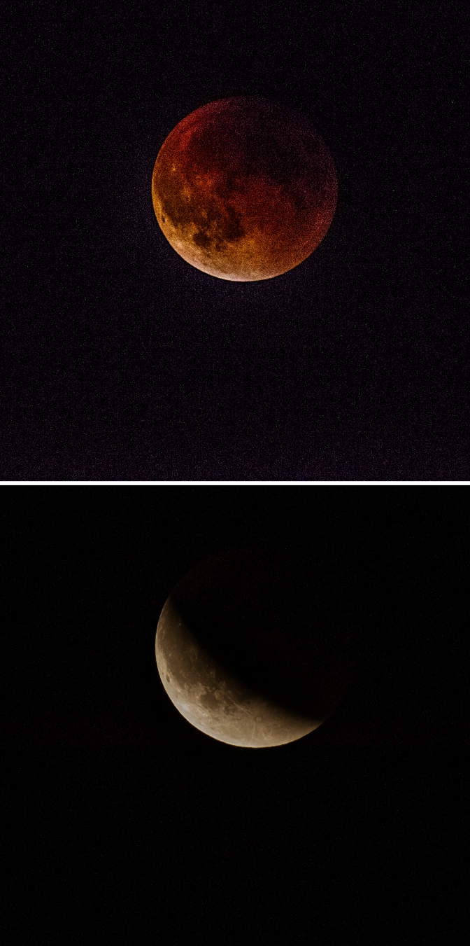 The Blood Moon as it began its rise, top, and as it came out of the Earth's shadow.