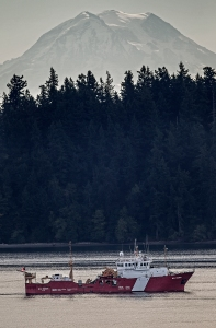 The 58-foot trawler is a fishery research vessel and is in the south Puget Sound after spending the night at Port Townsend, according to vesselfinder.com.