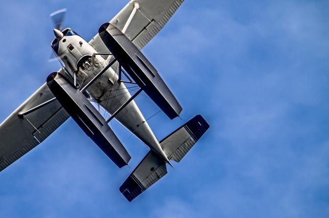 A floatplane flies over Longbranch, Washington, Sunday Aug. 6, 2016.